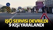 Karaman'da işçi servisi devrildi, 9 kişi yaralandı