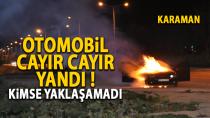 Karaman'da seyir halinde alev alan otomobili son anda terk ettiler