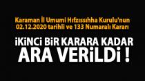 Karaman İl Umumi Hıfzıssıhha Kurulu'nun 133 Numaralı Kararı