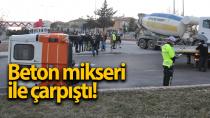 Karaman'da beton mikseri ile çarpışan minibüs yan yattı