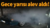 Karaman'da park halindeki otomobil alev aldı