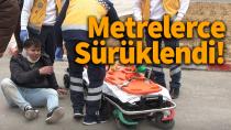 Karaman'da otomobil ile çarpışan motosiklet sürücüsü, metrelerce sürüklendi